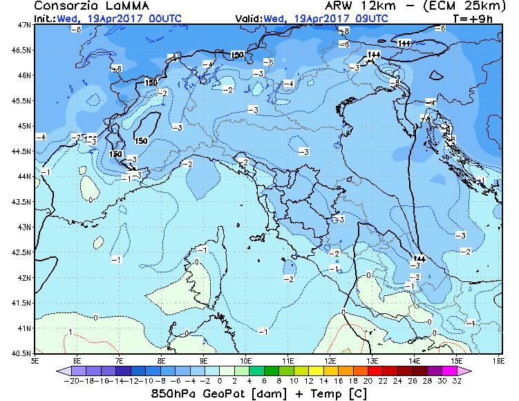 Mappa a 850 hPa nella mattinata del 19 Aprile