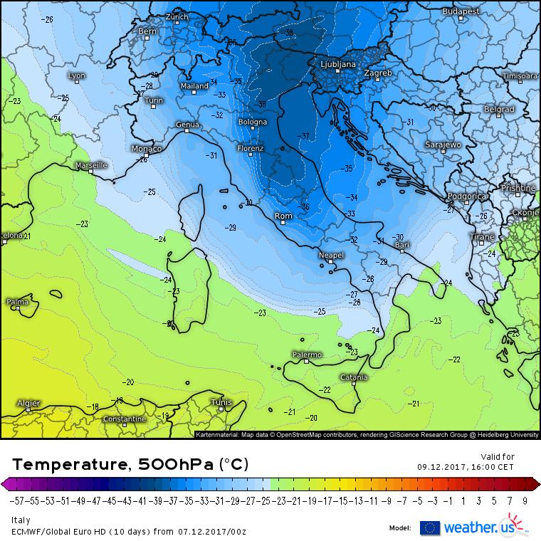 Nucleo di aria fredda alla quota di 500hPa