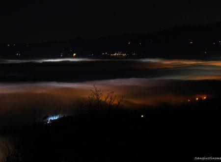 La nebbia di stasera vista dall'alto